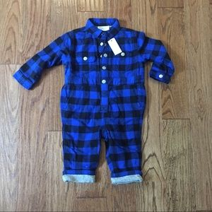 Gymboree boys nwt flannel playsuit 12-18 months